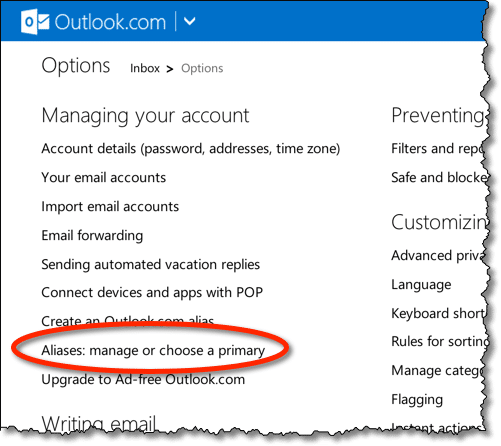 Outlook.com Manage Aliases Link