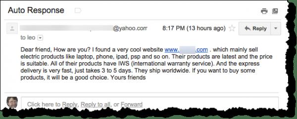 Auto-response spam