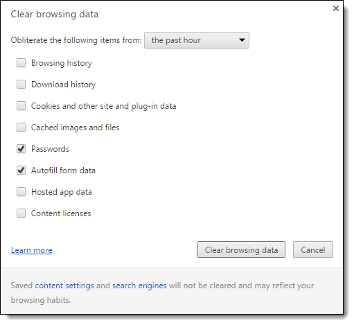Chrome Clear Data Options