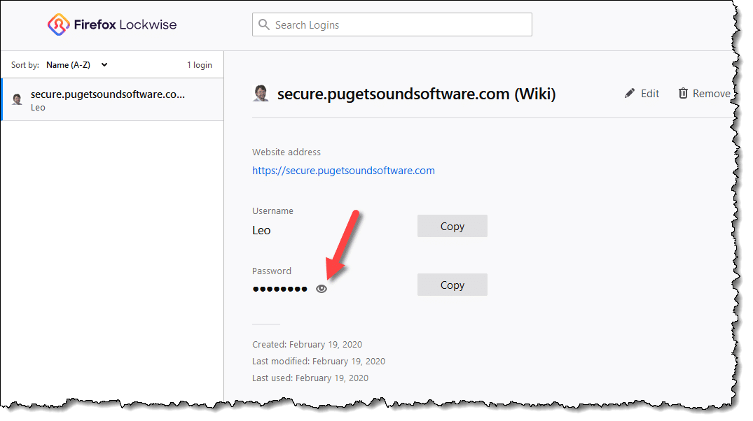 Passwords stored in Firefox