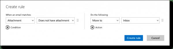 Outlook.com no attachment rule