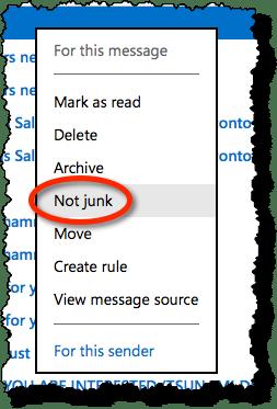 Outlook.com Not Junk