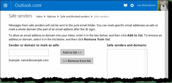 Outlook.com Safe Senders List