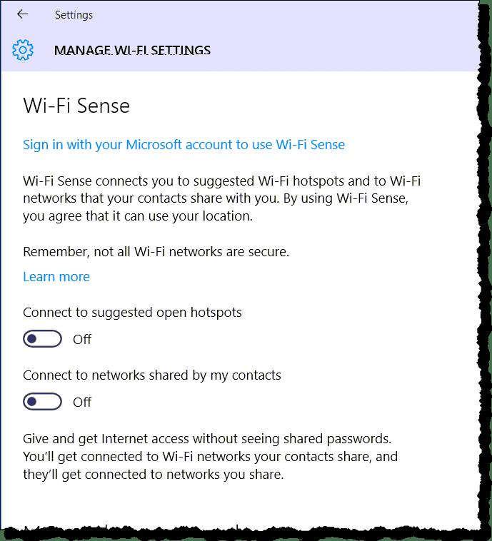 Windows 10 Wi-Fi Sense