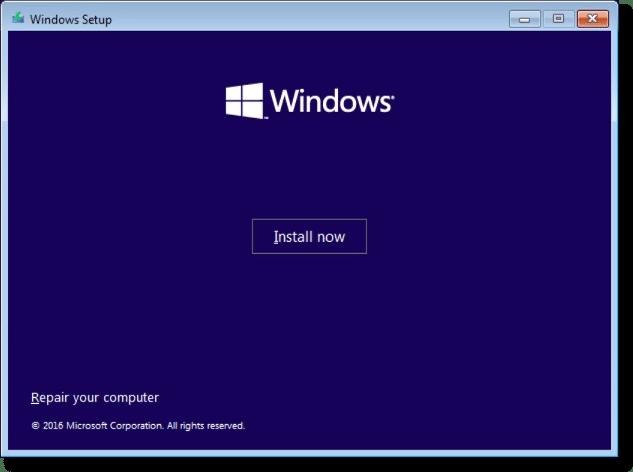Windows Setup Install Now
