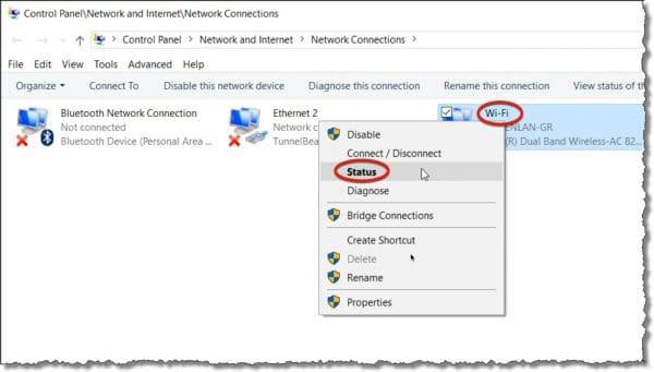 Wireless Network Status Item