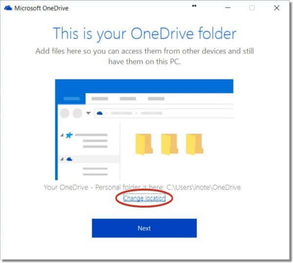OneDrive Change Location Link