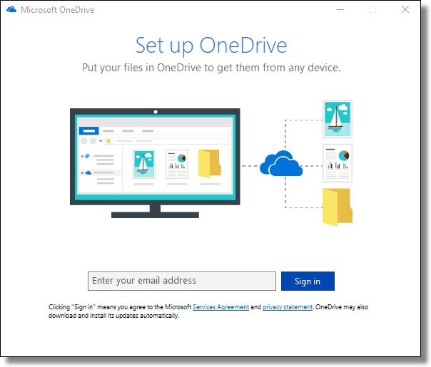 OneDrive Setup - email address