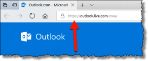 Outlook.com in the address bar