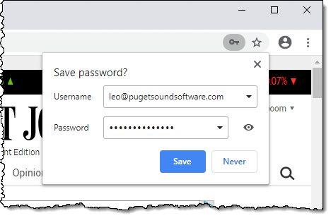 Google Chrome Save Password Dialog